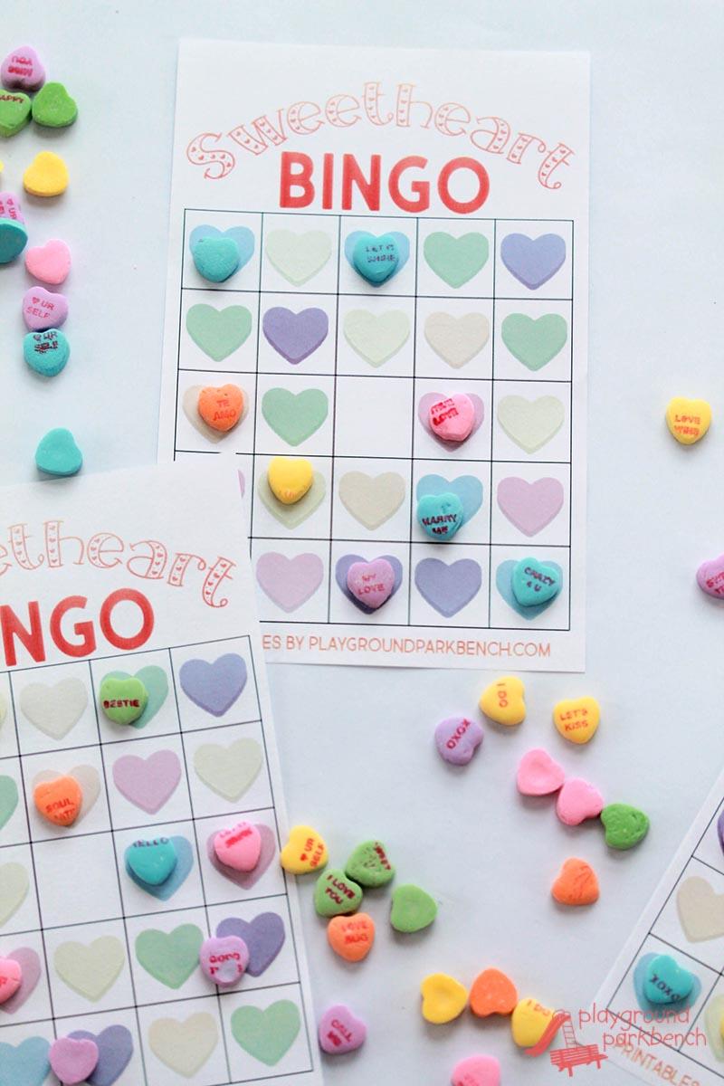 Cool conversation hearts bingo game.