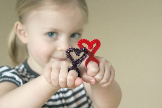 Cool heart-shaped pipe cleaner rings.