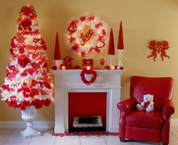 Cozy red and white decor.