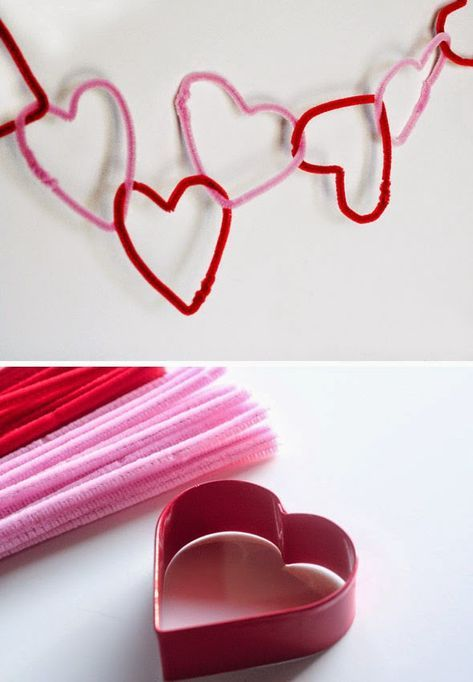 Creative idea to use pipe cleaner heart as garland.