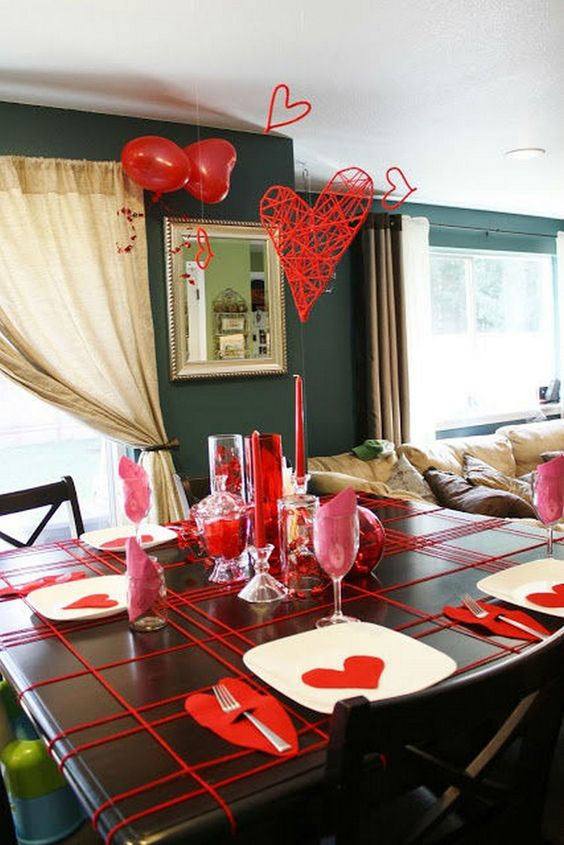 Creative way to decorate table for romantic dinner.