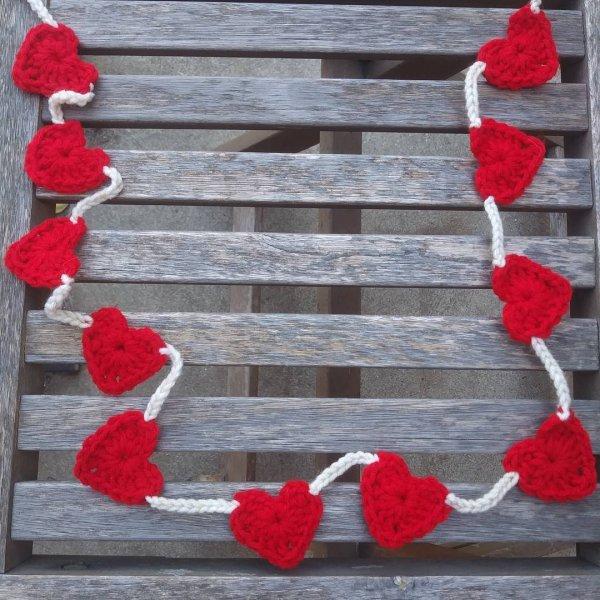 Crochet heart garland.