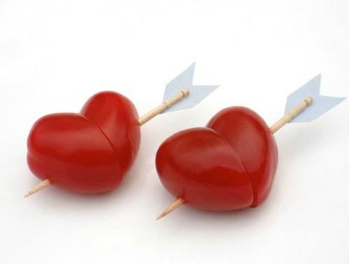 Cupid arrow cherry tomato hearts.