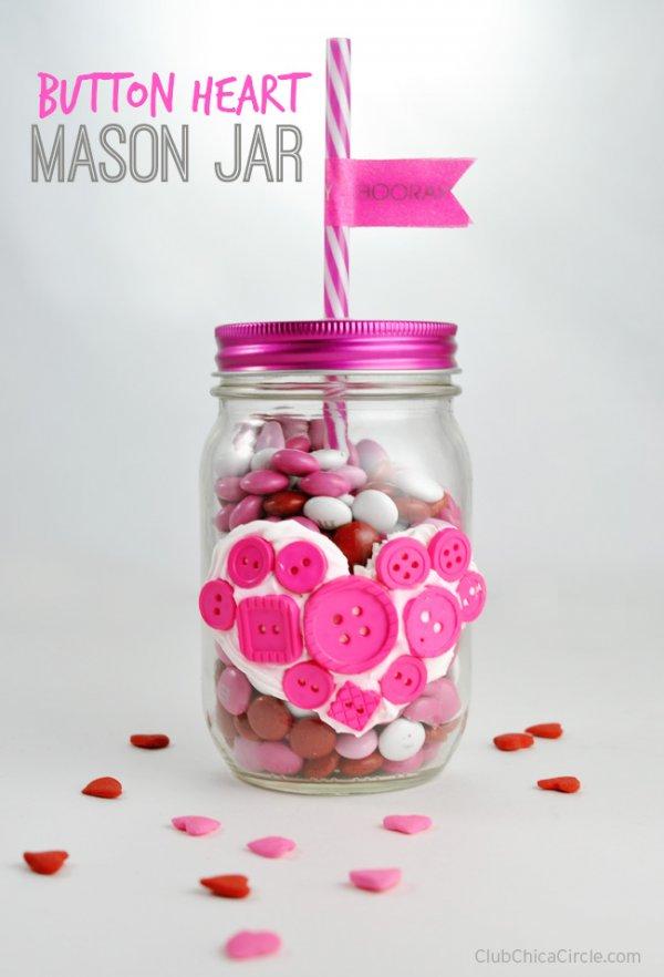 Cute button heart mason jar.