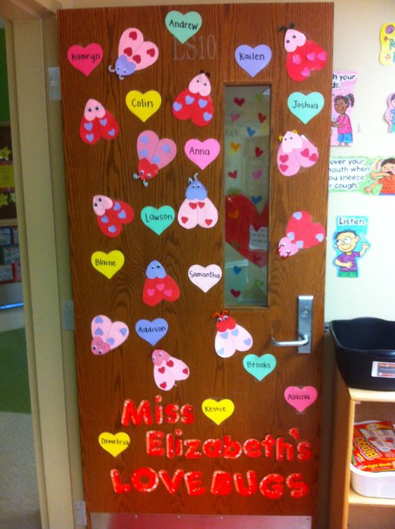 Cute door decor with love bugs for first grade kids.