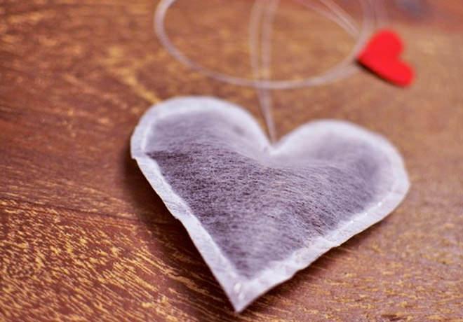 Cute heart tea bag.