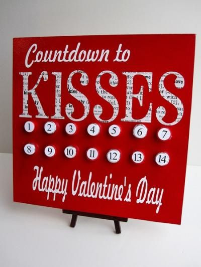 Cute kisses countdown calendar.