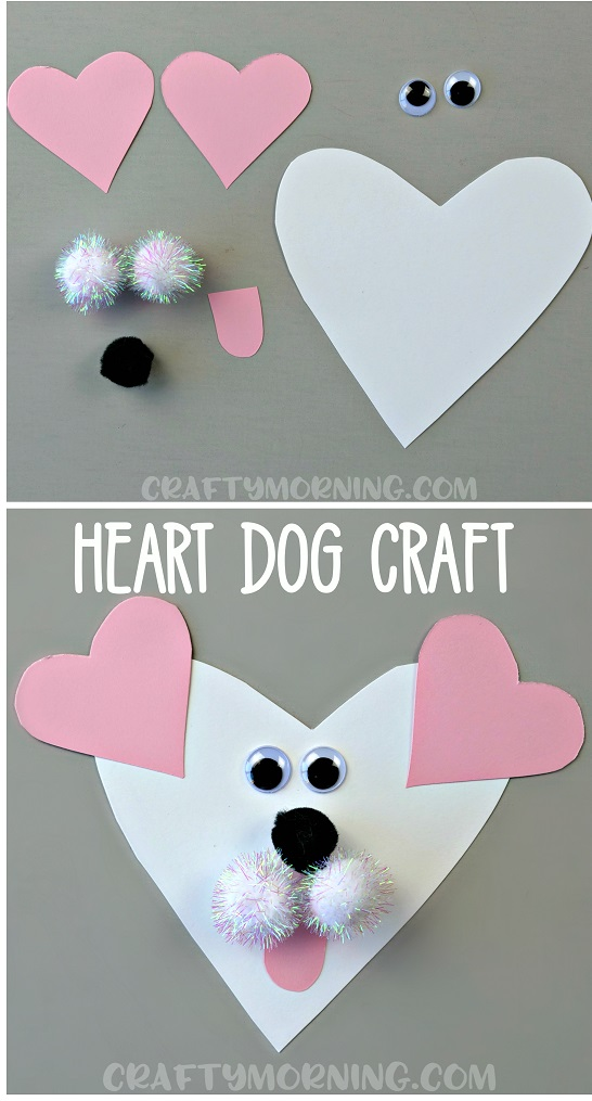 Cute pink and white heart shape dog craft.