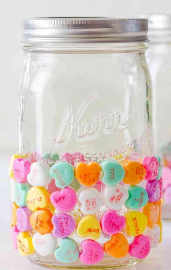 DIY Valentines day candy mason jar.