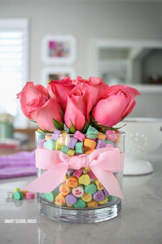DIY candy heart Valentine bouquet.