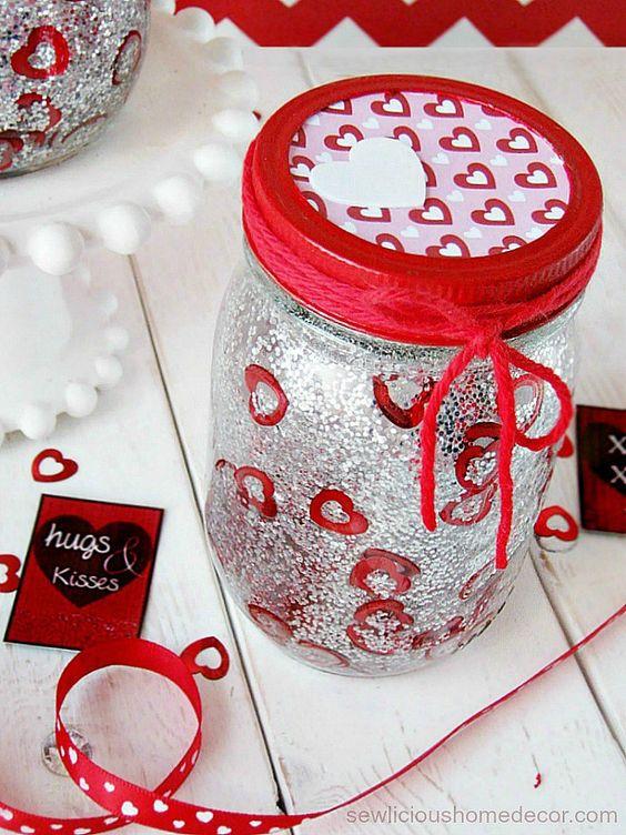 DIY glitter Valentine jars.