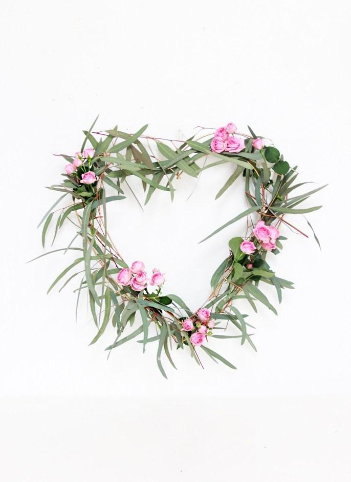 DIY heart wreath with eucalyptus.