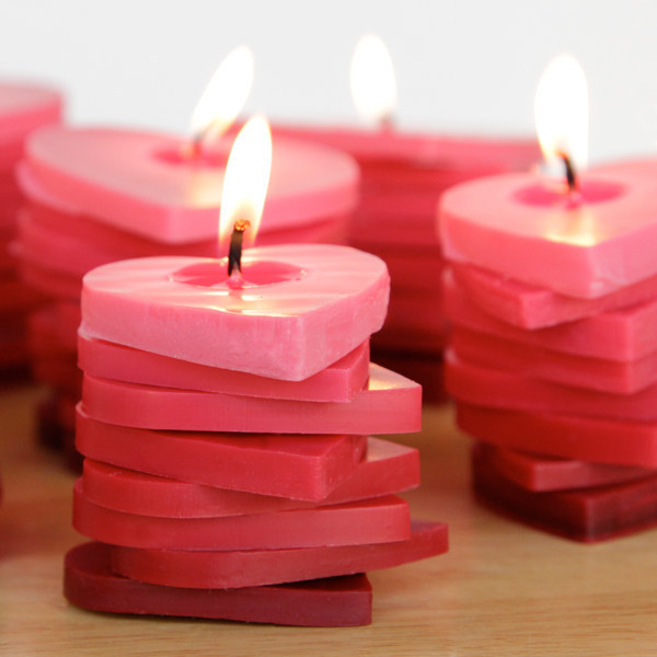 DIY stacked heart shape ombre candles.