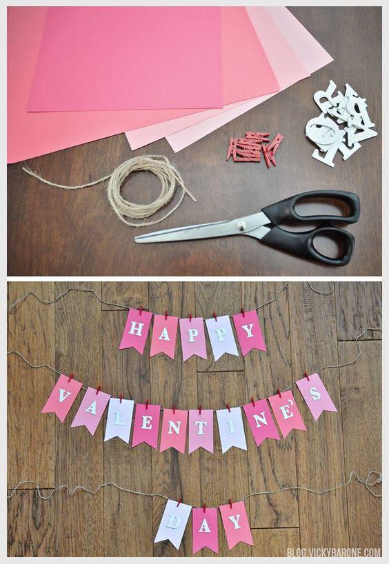 DIY valentine day garland in pink and white.
