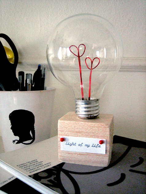 DIY valentine's day light bulb.