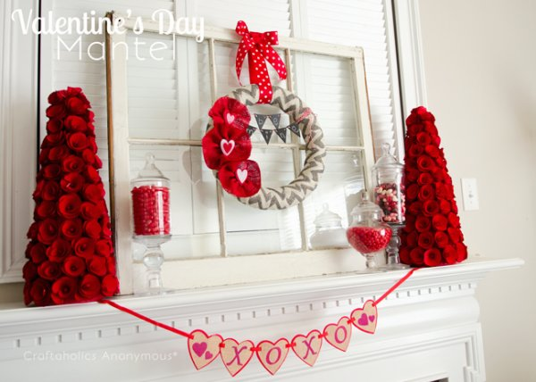Dashing mantel decoration for Valentine's day.
