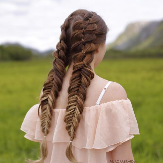 Double fishtail braids for long hairs.