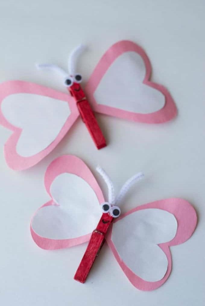Easy heart butterfly craft.