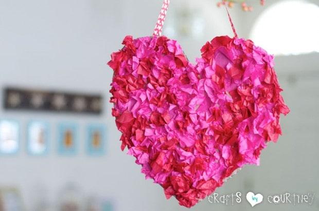 Easy tissue paper heart wreath for kids.