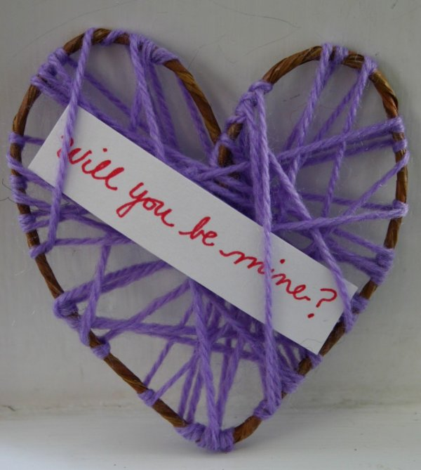 Easy yarn heart for Valentines day.