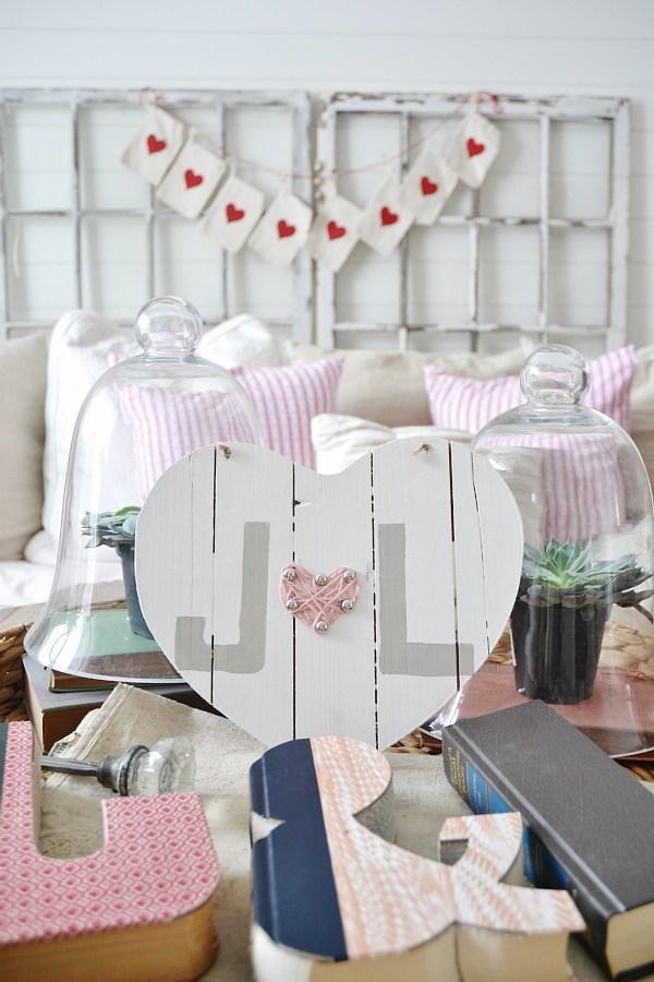 Elegant wooden heart Valentines day decor.