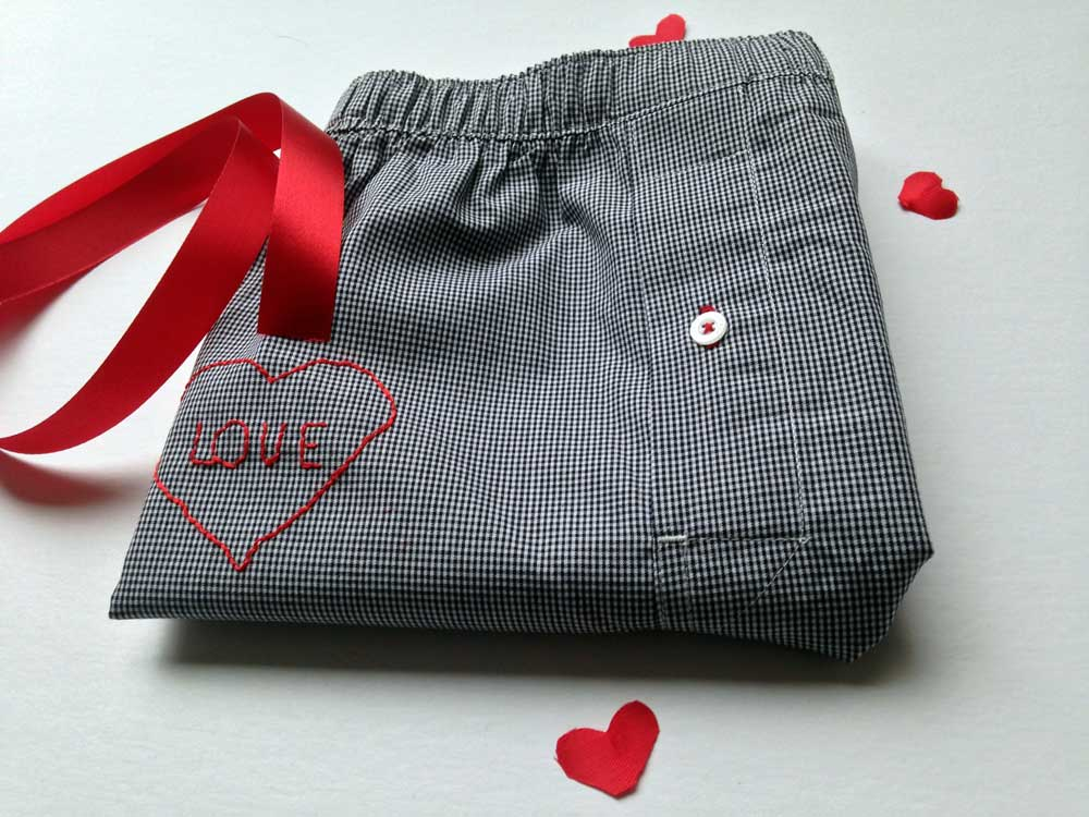Embroidered love boxes.