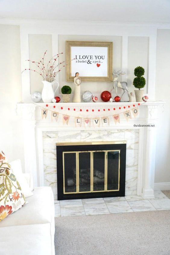 Enchanting Valentines day mantel decorating idea.