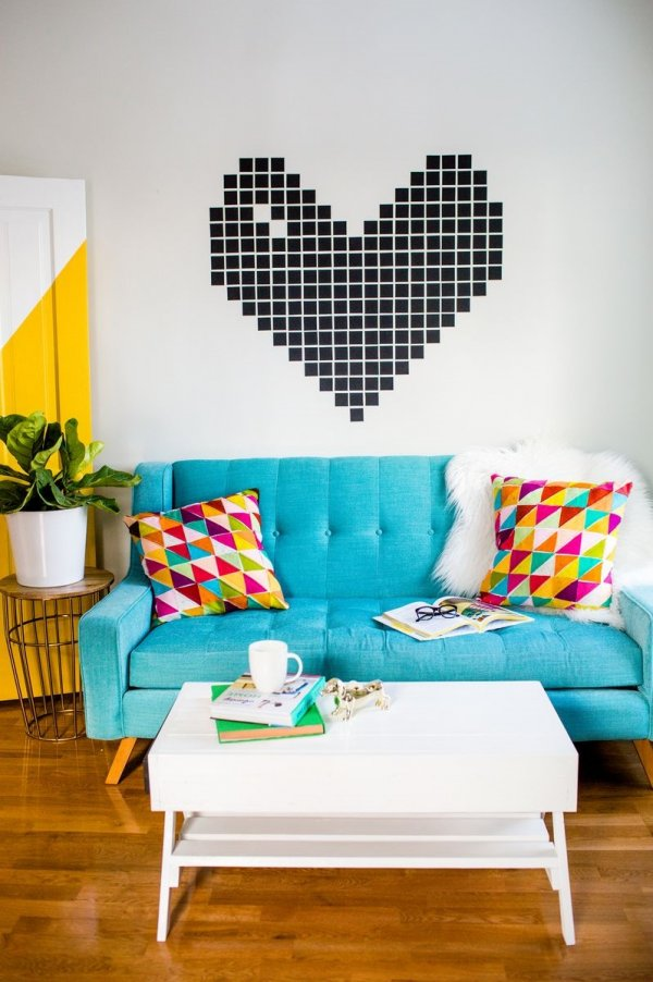 Exclusive washi tape heart on wall