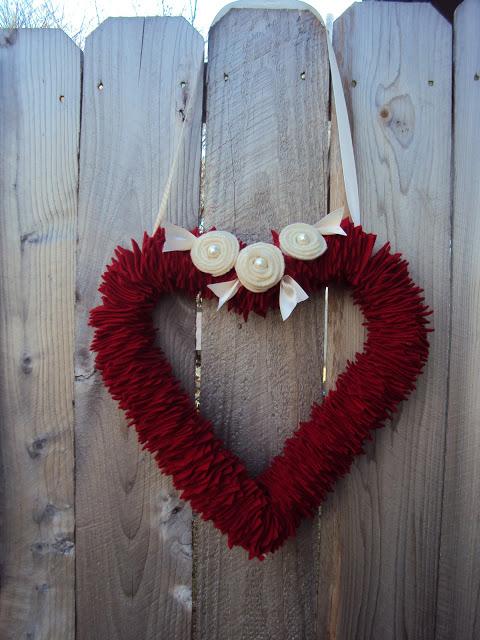 Fabric wreath in heart shape.