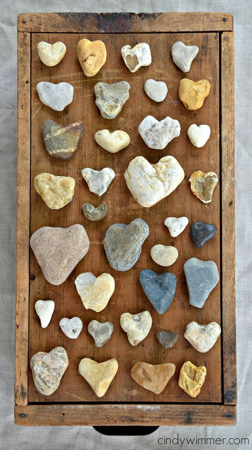 Fabulous collection of heart shape rocks.