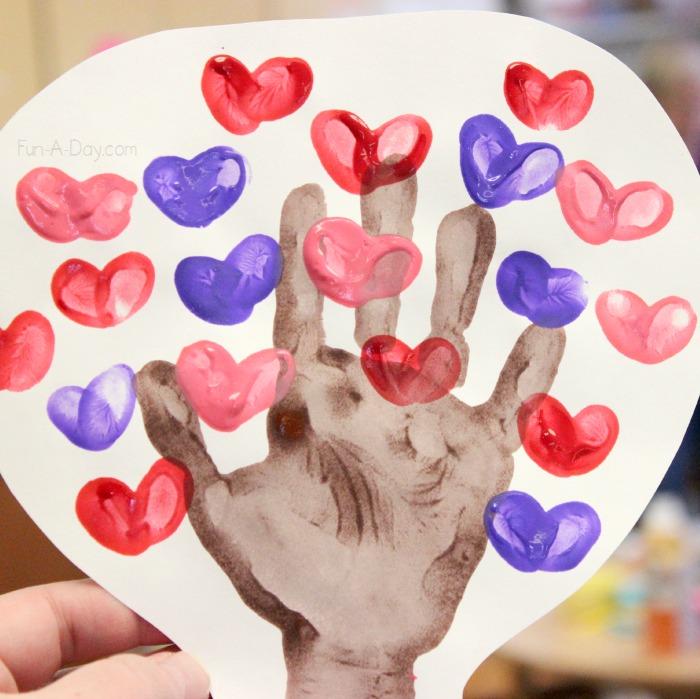 Fabulous hand print heart tree.