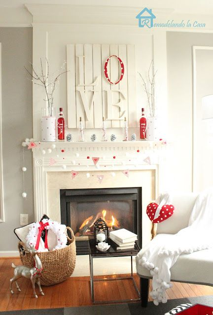 Fabulous red and white mantel decoration.
