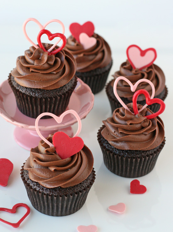 Fancy Chocolate Valentines Heart Cupcakes.
