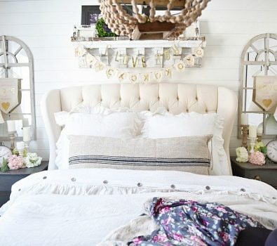 Farmhouse style Valentine's day bedroom decor.
