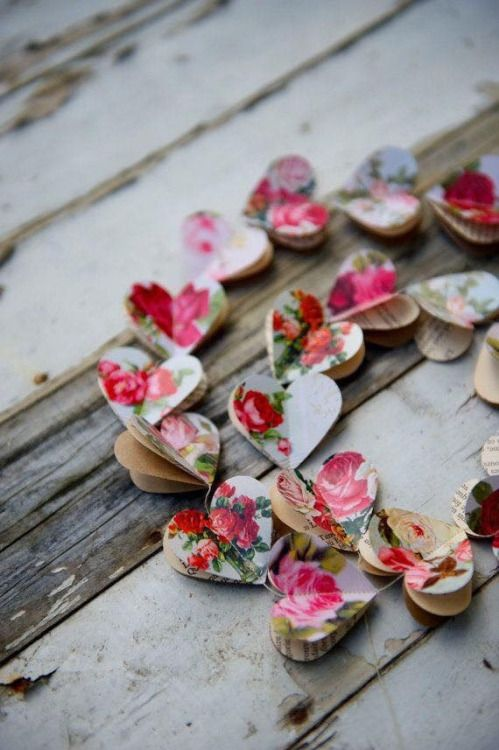 Floral heart garland for romantic day decor.