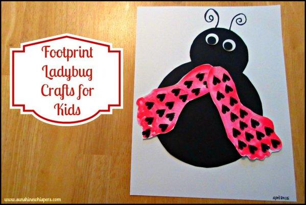 Footprint ladybug crafts for kids.