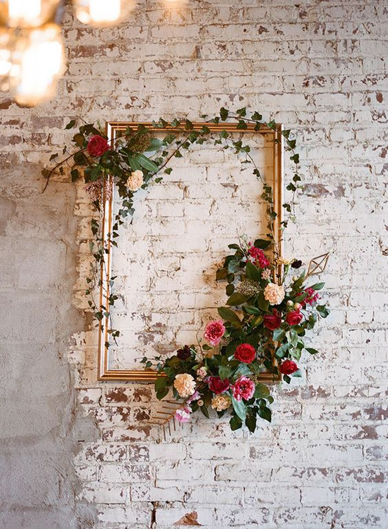 Frame decorated with flowers for Valentines day home decor.