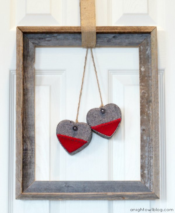 Framed Valentine's day heart wreath.