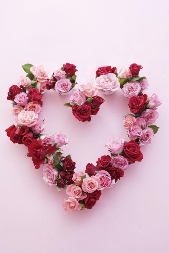 Fresh roses in heart shape.