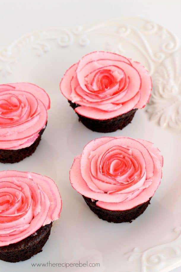 Fudgy Chocolate Cupcakes with Two-Tone Roses.