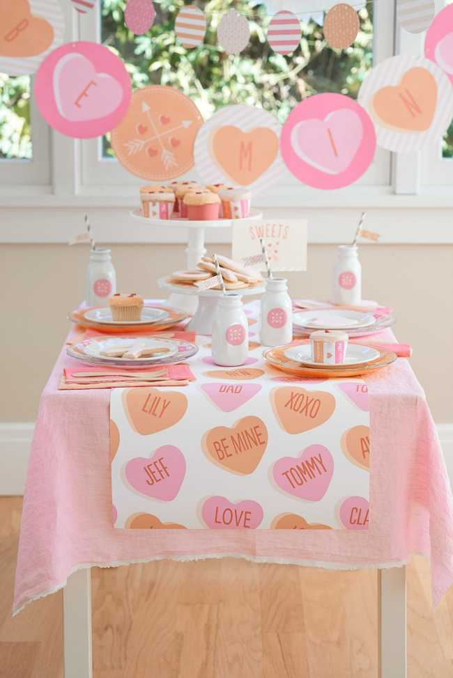 Funny Valentines day table decor for kids party.