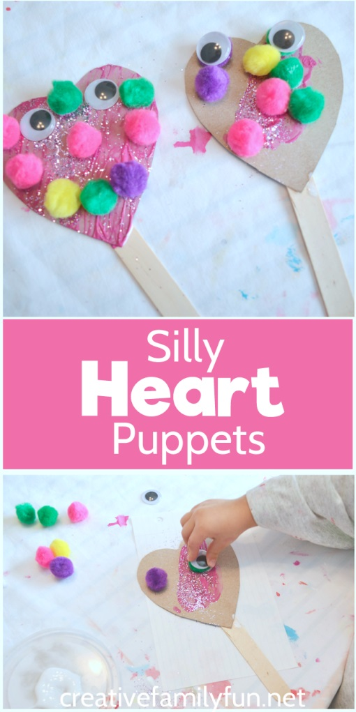 Funny heart puppet craft for kids.