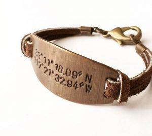 GPS bracelet with brass clasp on the back.
