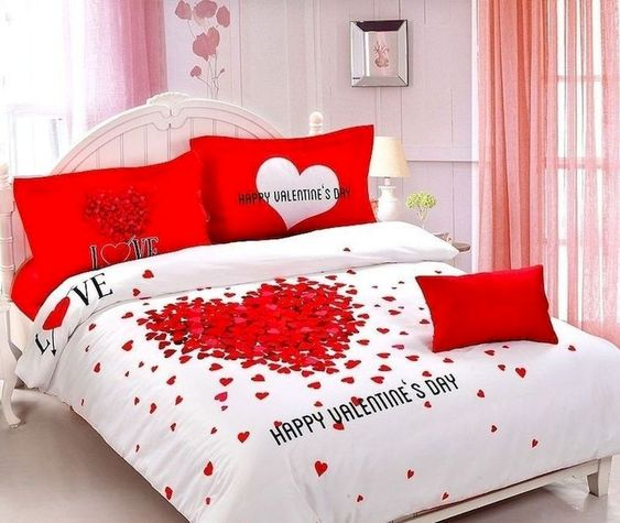 Glamorous bedroom decoration for Valentine's day.