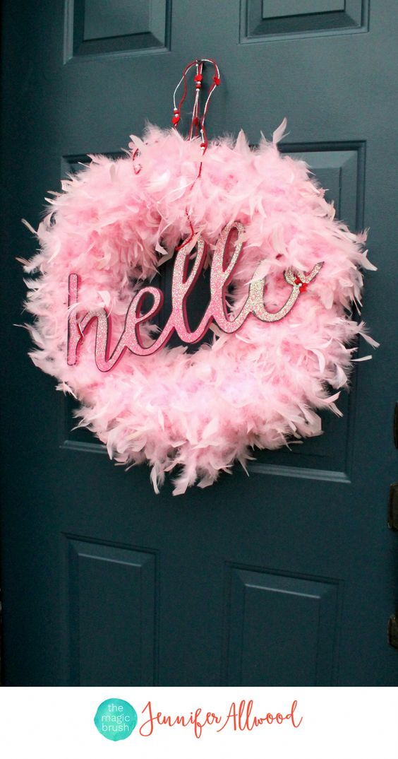 Glamorous pink feather wreath for valentine day.