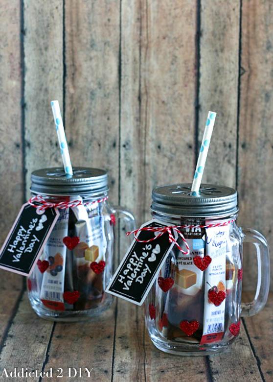 Glitter heart mason jar tumblers.