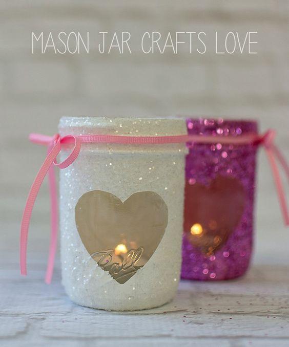 Glitter mason jar candle holder.