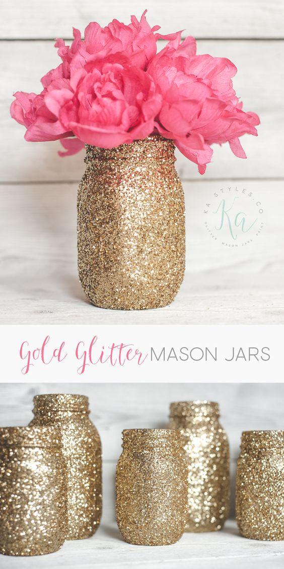 Gold glitter mason jar with flowers.