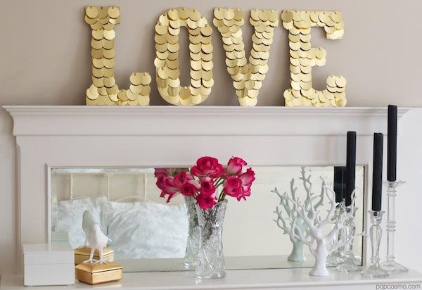 Golden disc love sign for mantel decor.