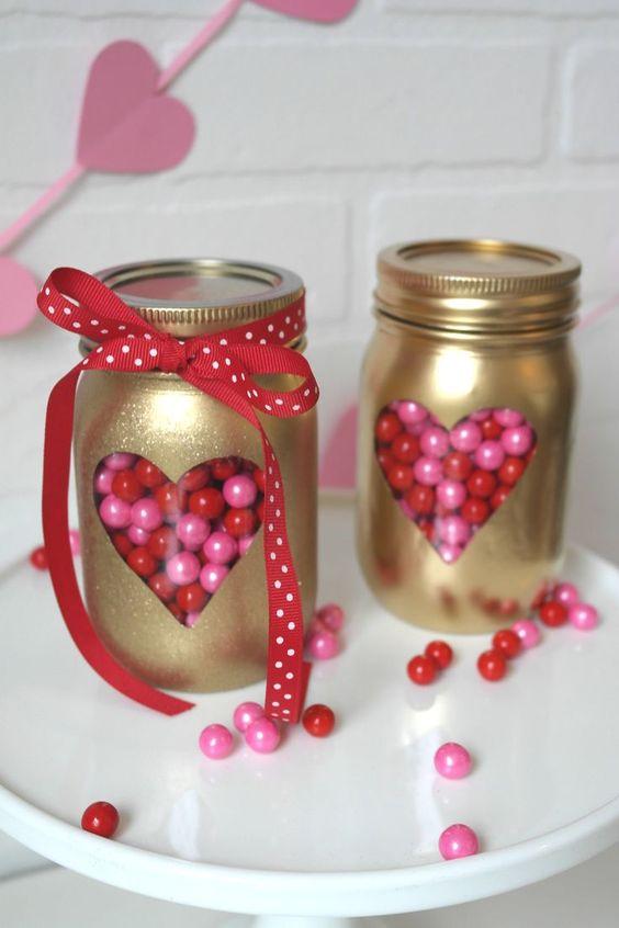 Golden heart mason jar for Valentines day.